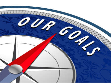 our vision: Our goals concept with compass