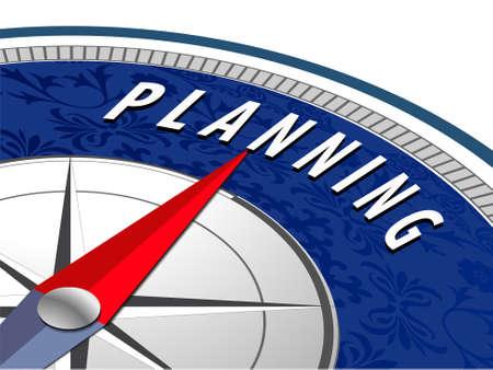 planificacion: La planificaci�n concepto con br�jula, infograf�as de planificaci�n de negocios - vector eps10