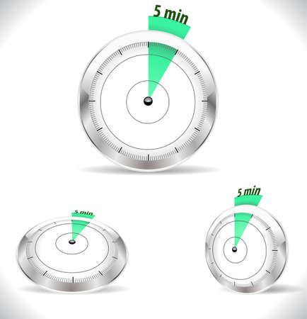 min: 5 min timers, five minutes alarm  Illustration