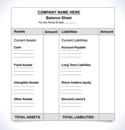 balance sheet format, unfill paper balance invoice form  일러스트