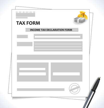 tax form: tax form format with signature and pen and money icon