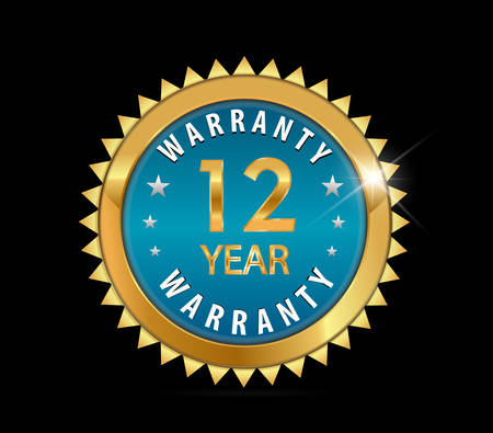 a 12: golden blue metallic 12 year warranty badge