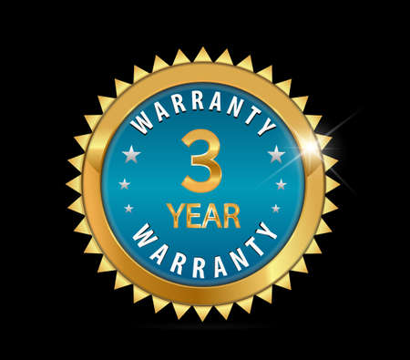 one year warranty: golden blue metallic 3 year warranty badge