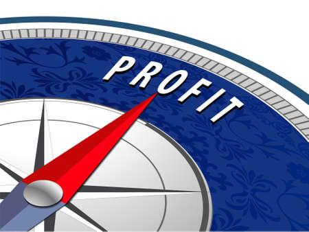 profit concept with compass Business profit infographics  vector eps10