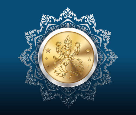 gold coin and pattern background, gold coins with laxmi