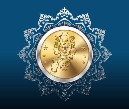 shankar: gold coin and pattern background, gold coins with shankar Illustration