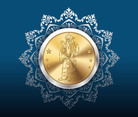 rama: gold coin and pattern background, gold coins with rama Illustration
