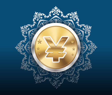 yen sign: Gold coin with yen sign with pattern background