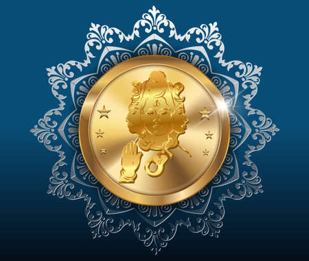 shiva: gold coin and pattern background, gold coins with shiva