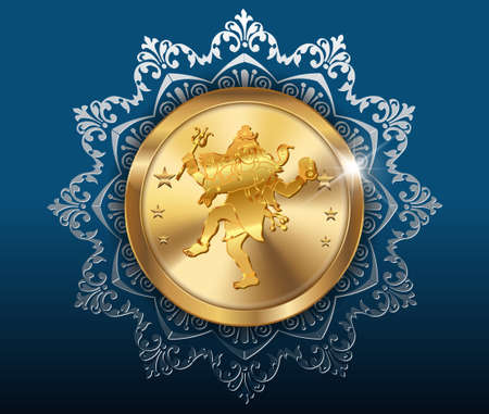 gold coin and pattern background, gold coins with shiv Vector