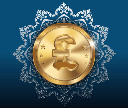 pound coin: gold coin and pattern background, gold coins with pound