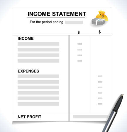 Income Statement Tax return concept with pen and money icons vector eps10 Illustration