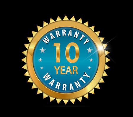 ten best: 10 golden blue metallic one year10 year warranty badge  vector eps10