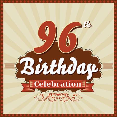 imperfections: 96 year happy birthday celebration retro style card  vector eps10 Illustration