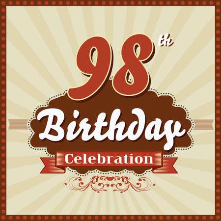 celebracion cumplea�os: 98 a�os feliz celebraci�n de cumplea�os tarjeta de estilo retro vector eps10 Vectores