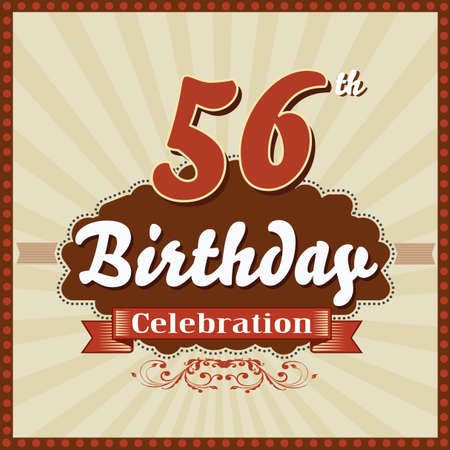 imperfections: 56 year happy birthday celebration retro style card  vector eps10