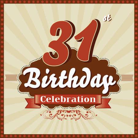 31: 31 year happy birthday celebration retro style card  vector eps10