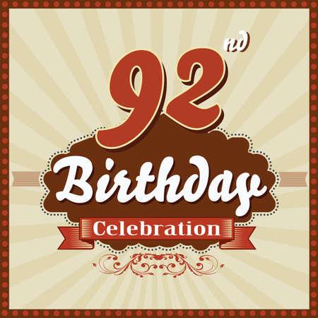 92: 92 year happy birthday celebration retro style card  vector eps10 Illustration