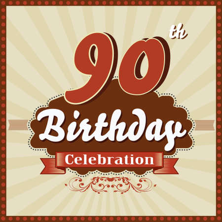90th: 90 year happy birthday celebration retro style card  vector eps10 Illustration