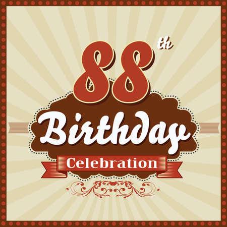 celebracion cumplea�os: 88 a�os feliz celebraci�n de cumplea�os tarjeta de estilo retro vector eps10