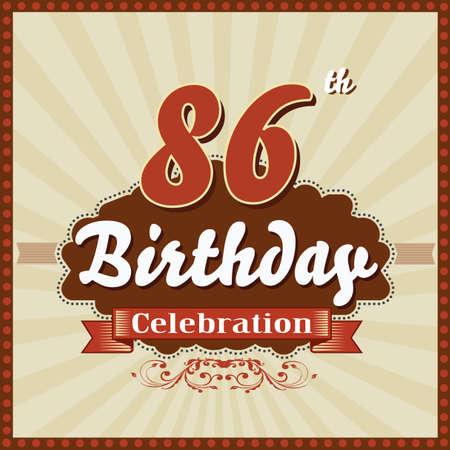 celebracion cumplea�os: 86 a�os feliz celebraci�n de cumplea�os tarjeta de estilo retro vector eps10 Vectores