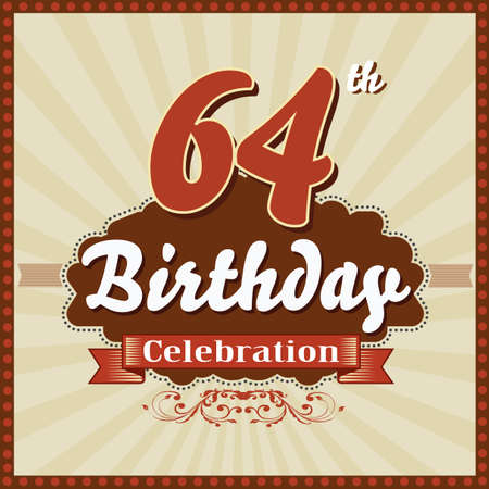 imperfections: 64 year happy birthday celebration retro style card  vector eps10