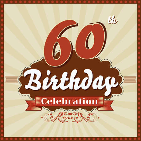 60 year happy birthday celebration retro style card  vector eps10 向量圖像