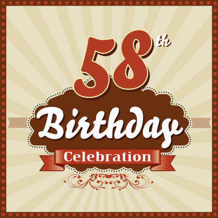 imperfections: 58 year happy birthday celebration retro style card  vector eps10 Illustration