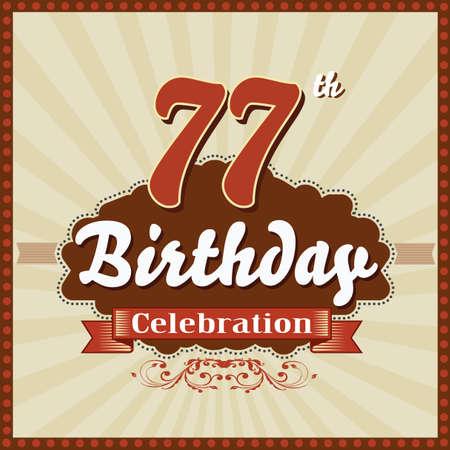 77 year happy birthday celebration retro style card  vector eps10