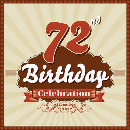 celebracion cumplea�os: 72 a�os feliz celebraci�n de cumplea�os tarjeta de estilo retro vector eps10 Vectores
