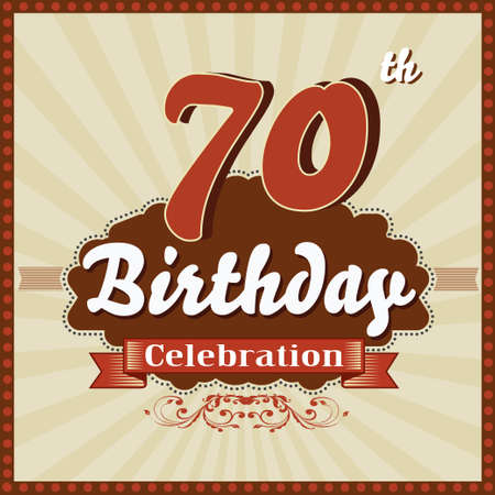 imperfections: 70 year happy birthday celebration retro style card  vector eps10