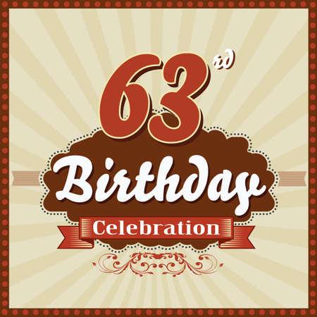 celebracion cumplea�os: 63 a�os feliz celebraci�n de cumplea�os tarjeta de estilo retro vector eps10