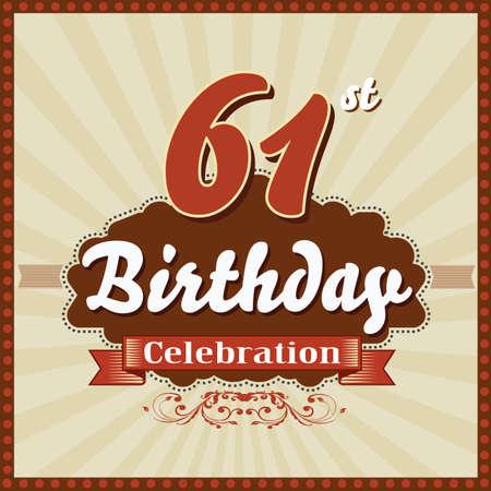 celebracion cumplea�os: 61 a�os feliz celebraci�n de cumplea�os tarjeta de estilo retro vector eps10 Vectores