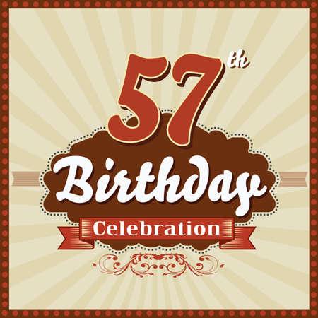 celebracion cumplea�os: 57 a�os feliz celebraci�n de cumplea�os tarjeta de estilo retro vector eps10