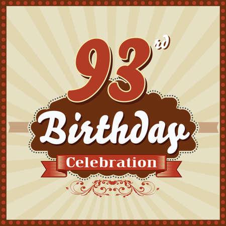 celebracion cumplea�os: 93 a�os feliz celebraci�n de cumplea�os tarjeta de estilo retro vector eps10