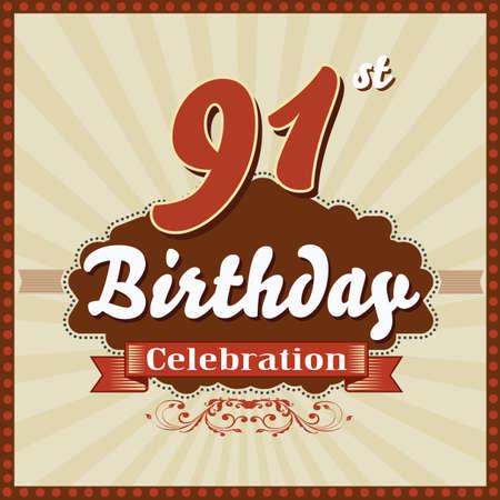 celebracion cumplea�os: 91 year happy birthday celebration retro style card  vector eps10
