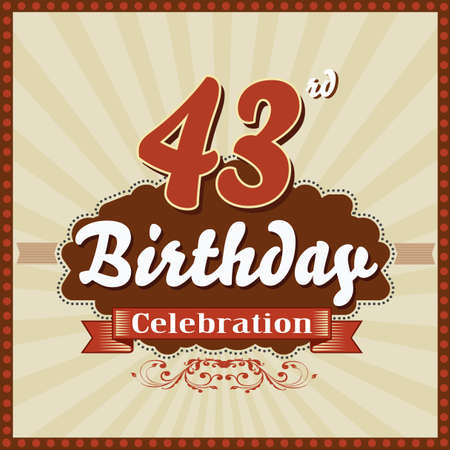 imperfections: 43 year happy birthday celebration retro style card  vector eps10