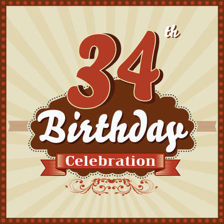 34: 34 year happy birthday celebration retro style card  vector eps10