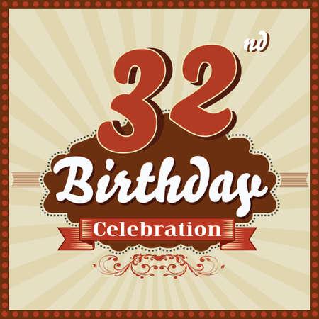 celebracion cumplea�os: 32 a�os feliz celebraci�n de cumplea�os tarjeta de estilo retro vector eps10 Vectores