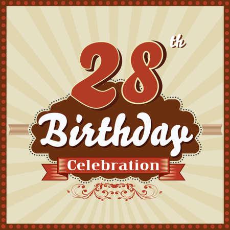 celebracion cumplea�os: 28 a�os feliz celebraci�n de cumplea�os tarjeta de estilo retro vector eps10