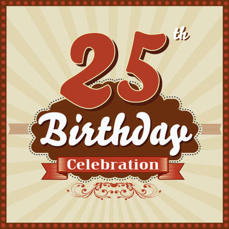 imperfections: 25 year happy birthday celebration retro style card  vector eps10