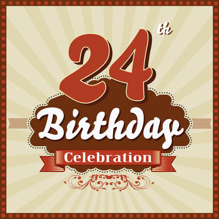 imperfections: 24 year happy birthday celebration retro style card  vector eps10