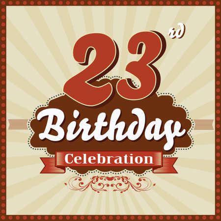 imperfections: 23 year happy birthday celebration retro style card  vector eps10