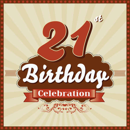 imperfections: 21 years celebration 21st happy birthday retro style card  vector eps10