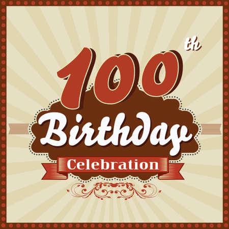 100 years celebration 100th happy birthday retro style card  vector eps10