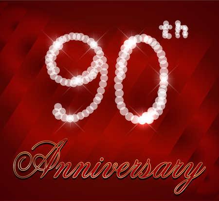 90th: 90 year Happy Birthday Card 90th birthday  vector EPS10 Illustration