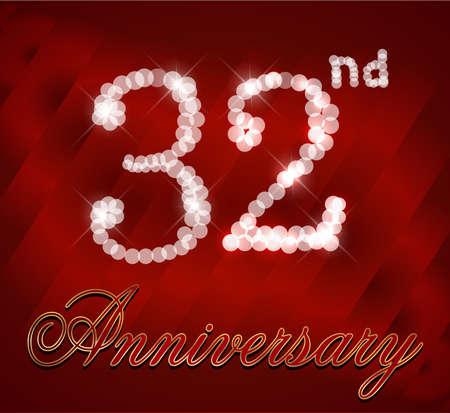 32: 32 year Happy Birthday Card 32nd birthday  vector EPS10