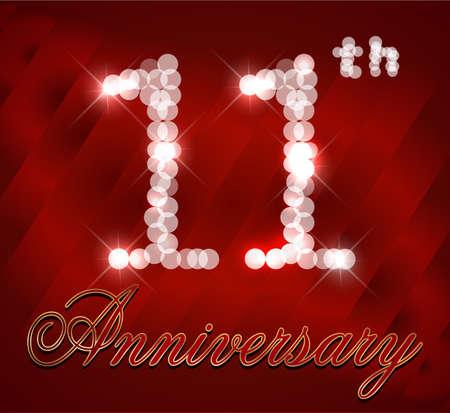 11th: 11 year Happy Birthday Card 11th birthday  vector EPS10