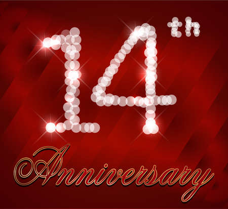 14th: 14 year happy birthday card, 14th anniversary sparkles