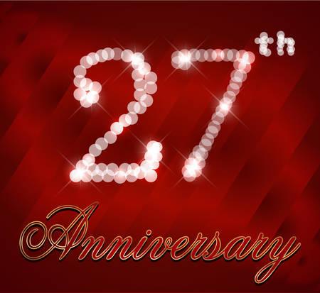 27: 27 year happy birthday card, 27th anniversary sparkles